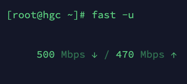 HGC千兆家宽测速结果